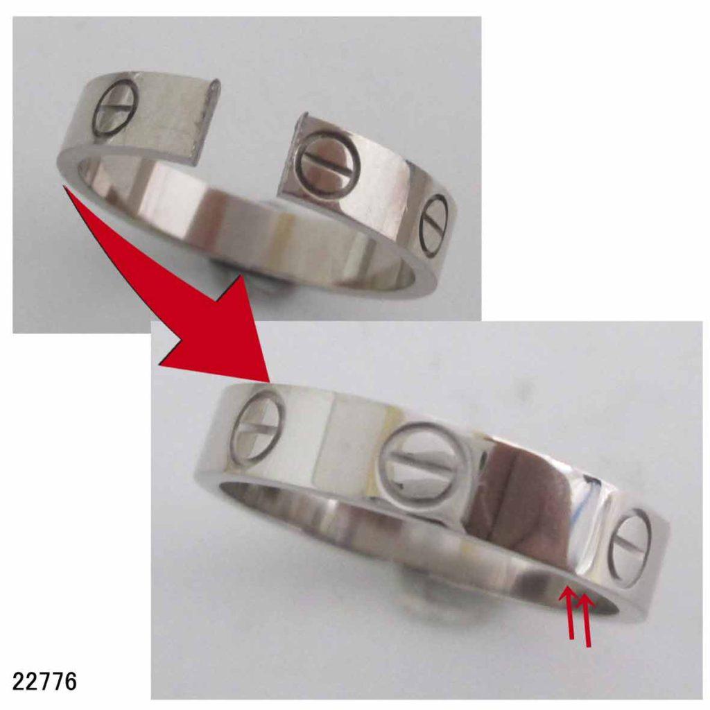 22776ブランドジュエリー修理カルティエリングサイズ直し