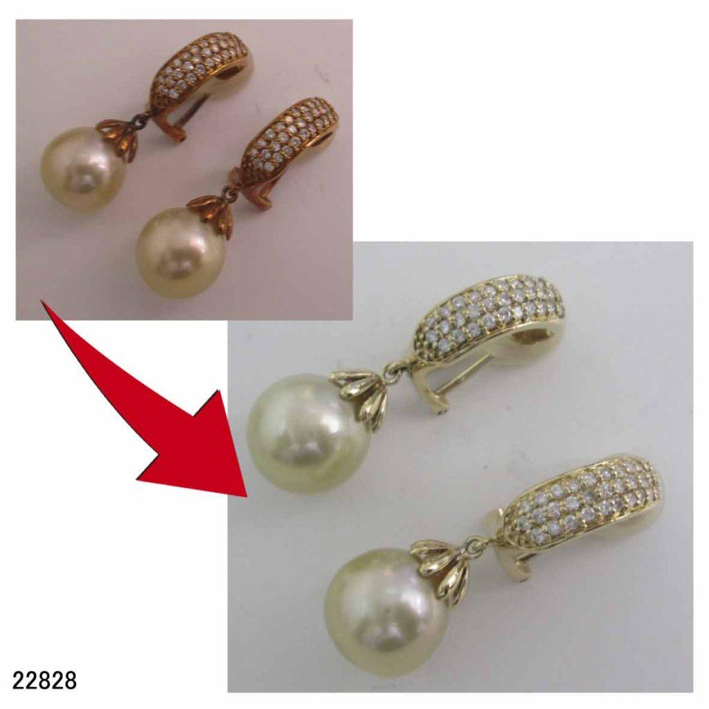 22828K18真珠イヤリングイオンリフレッシャー変色直し